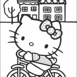 Pobarvanka Hello Kitty na kolesu